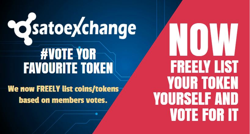 Vote tokens to be listed | SatoExchange Trading